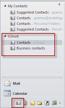 icloud contacts folder