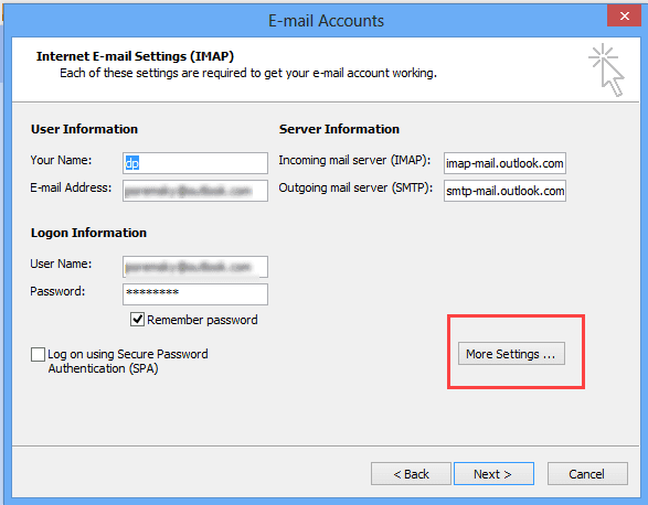 Configuring an Outlook com account in Outlook