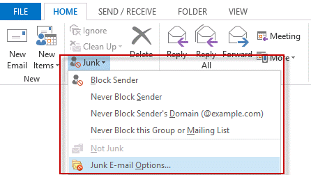 Select the junk email command to open the junk mail options dialog