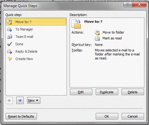 Manage Quick Steps dialog