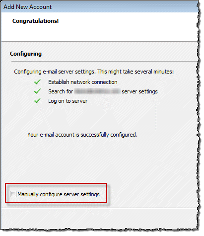 Manually configure the account after using autodiscover