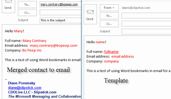 email merge contact