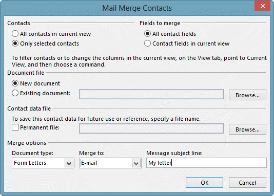 Using Mail Merge in Outlook