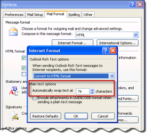 Wrap line setting in Outlook 2007 and 2003