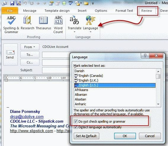 Outlook Signatures and Spell Check