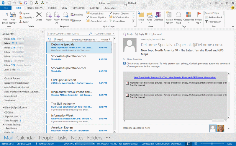 outlook mail application congratulating to window