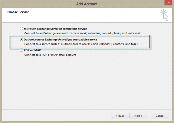 Outlook 2013 - choose Outlook.com account type