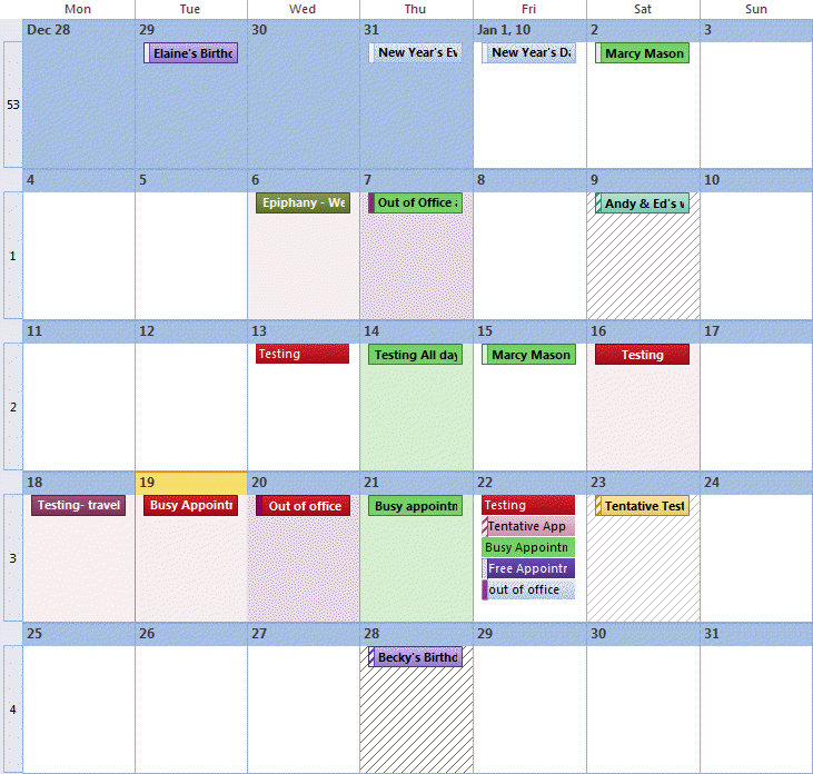 Understanding Outlook's Calendar patchwork colors
