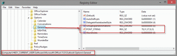 Pont_String key in registry