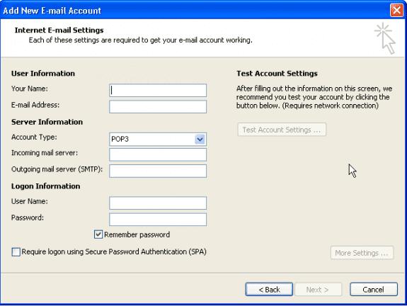 Internet account settings 2007