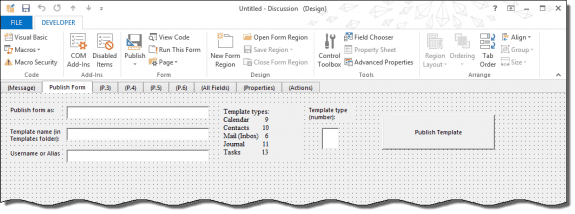 Create a custom form to publish a form