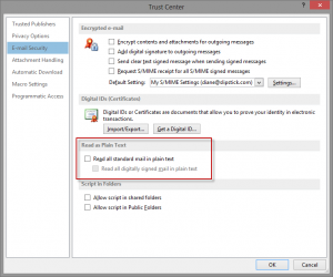 Read as plain text settings in Outlook 2013