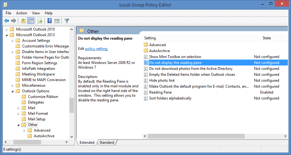 Disable Outlook's Reading Pane