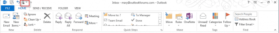 Outlook 2013 ribbon in normal mode, with Touch mode button highlighted