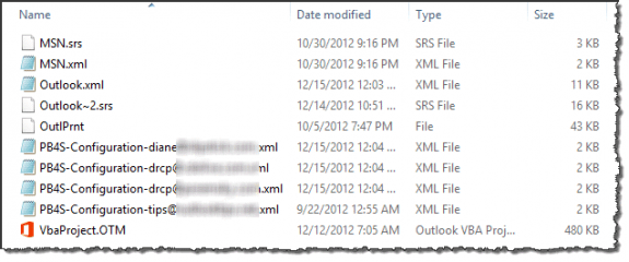 Support files used by Outlook 2013