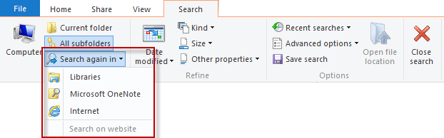 Searching for Outlook Items in Windows