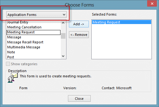 Select application forms dialog