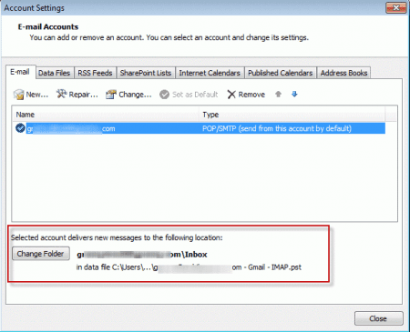 Outlook and iCloud: default data files