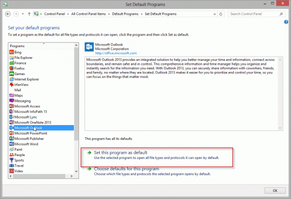 Outlook is Not Recognized as the Default Email Client
