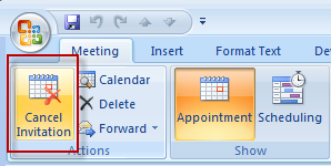Step 2: Cancel meeting to create appointment