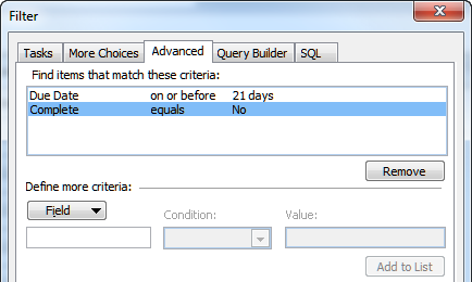 Task filter conditions