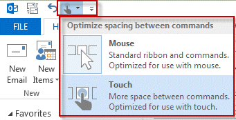 Switch between touch and mouse mode