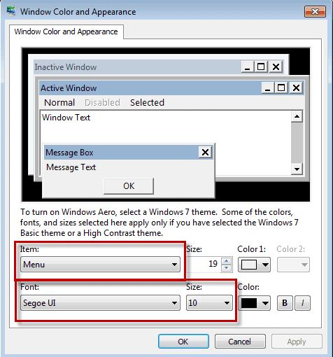 Change Windows Font size