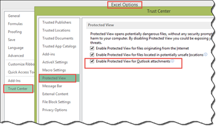 Disable Protected View for Outlook Attachments